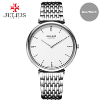 Julius Limited Edition Men Ultra Slim Wristwatch Stainless Steel Quartz High Quality Top Brand Luxury Dress