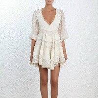 New Runway self portrait Dresses Spring Summer Women High Quality Bohemian V neck Lace Mesh Embroidery Dot Dress vestidos