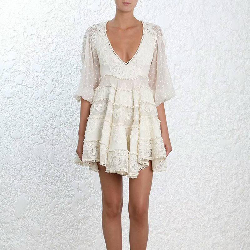 Nouvelle piste auto portrait robes printemps été femmes de haute qualité bohème col en v dentelle maille broderie point robe vestidos