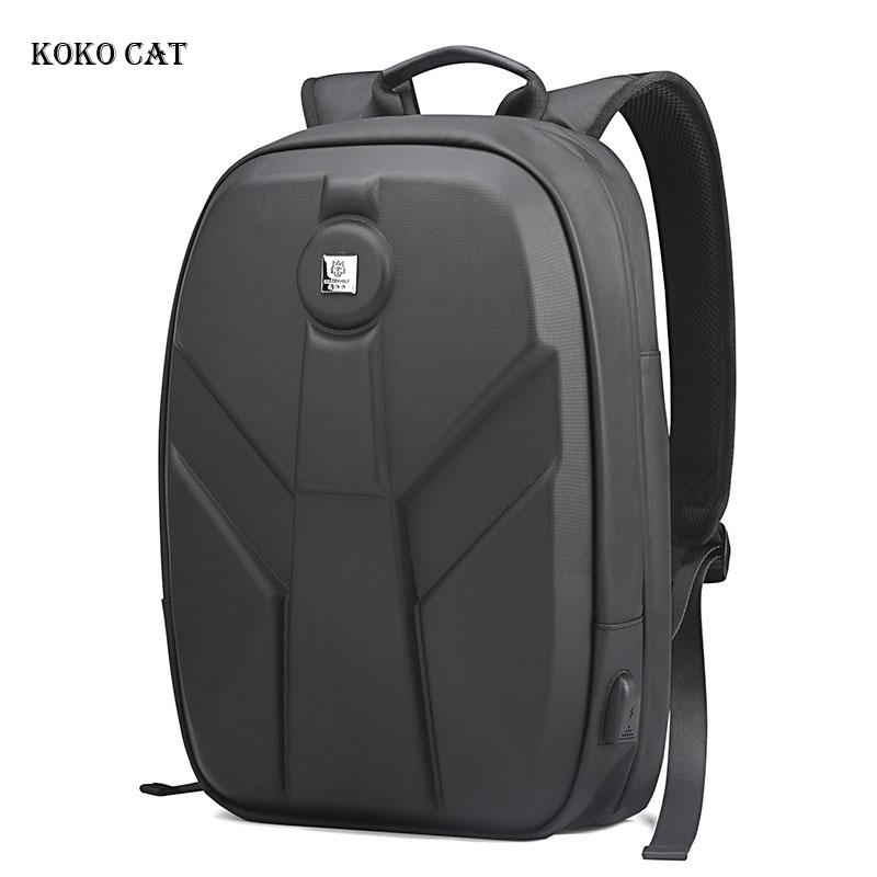 Mens Hard Shell EVA Backpack Waterproof Student Boys Bookbag USB Charging Laptop Bag Casual Motorcycle Daypack Mochila Masculina