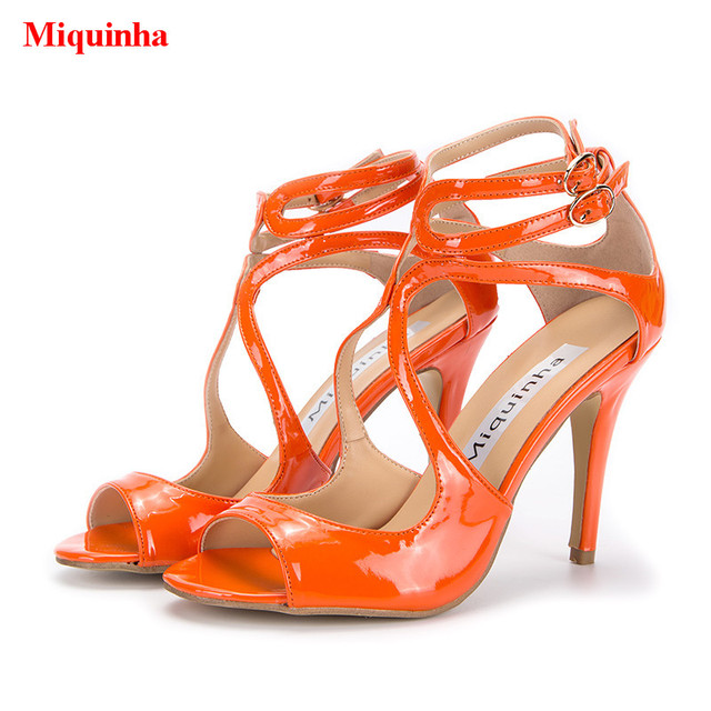 Sapato Feminino Orange Patent Leather Cross tied Gladiator Sandals ...