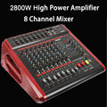 Professional 8CH USB Sound Mixing Console 2800W High Power Amplifier Mixer In one function