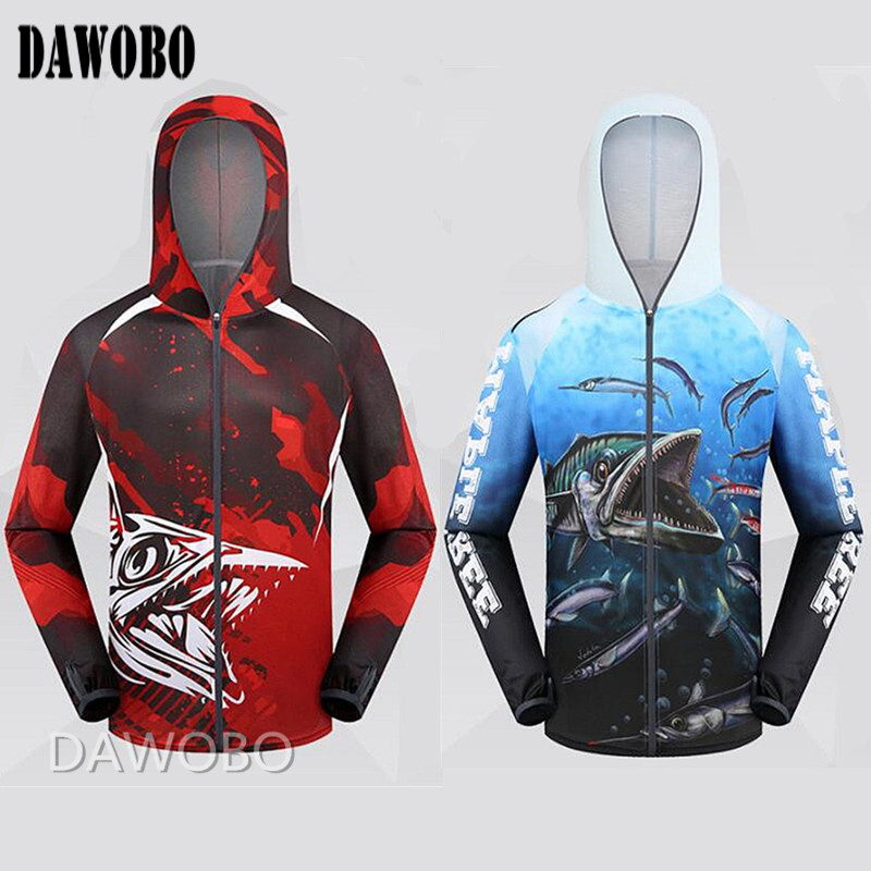 2019 New arrival Man Professional Clothes Fishing Anti UV Anti mosquit Breathable Quick drying homme Hooded Fishing Shirt M 4XL in Hiking Shirts from Sports Entertainment