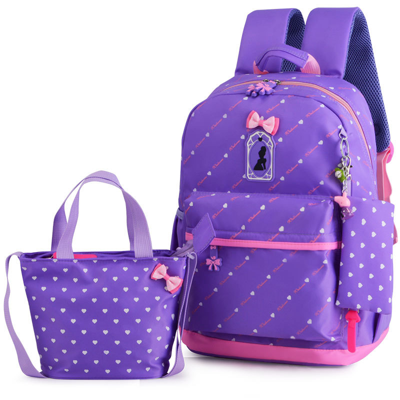 цены Children School Bags Teenagers Girls Printing Rucksack school Backpacks 3pcs/Set Mochila kids travel backpack Cute shoulder bag