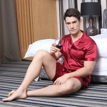 Tony & Candice pidżama z satynowego jedwabiu szorty dla mężczyzn Rayon jedwabna bielizna nocna letni mężczyzna zestaw piżamy miękka koszula nocna dla mężczyzn piżamy