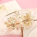 Tiara Gold Headband Pearl Jewelry Crystal Headbands Hair Band Bridal Headpiece Hair Accessories Bandeau Cheveux Femme WIGO0656