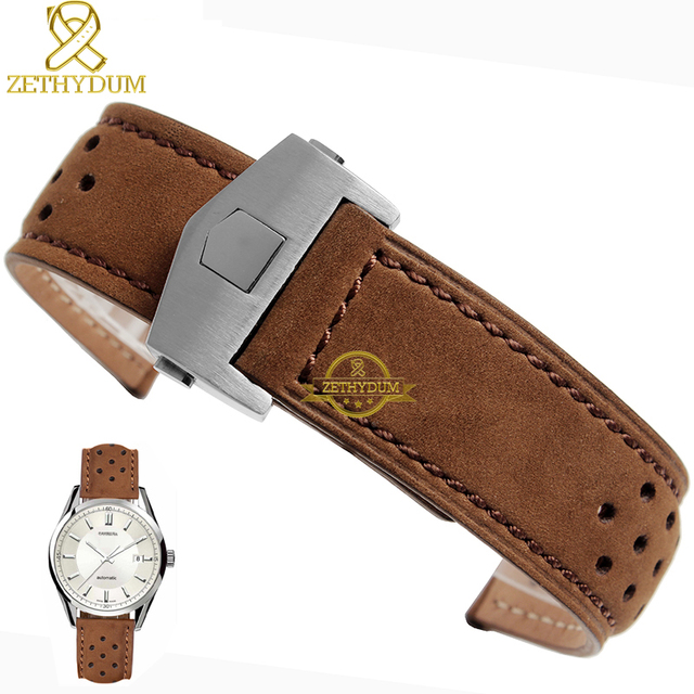 Натуральная Кожа Браслет 22 мм Ремешок Для Часов ремешок для наручных часов коричневый дышащий Смотреть band аксессуары раза пряжка