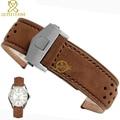 Pulsera De Cuero genuino 22mm Correa de Reloj correa de reloj para relojes de pulsera marrón transpirable venda de Reloj accesorios fold buckle