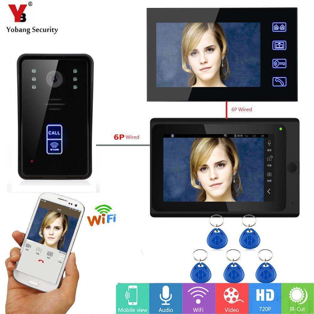 Yobang Security 7inch Wireless Wifi Video Door Phone Doorbell Intercom System 2 Monitor RFID Unlock IR Night Vision Intercom