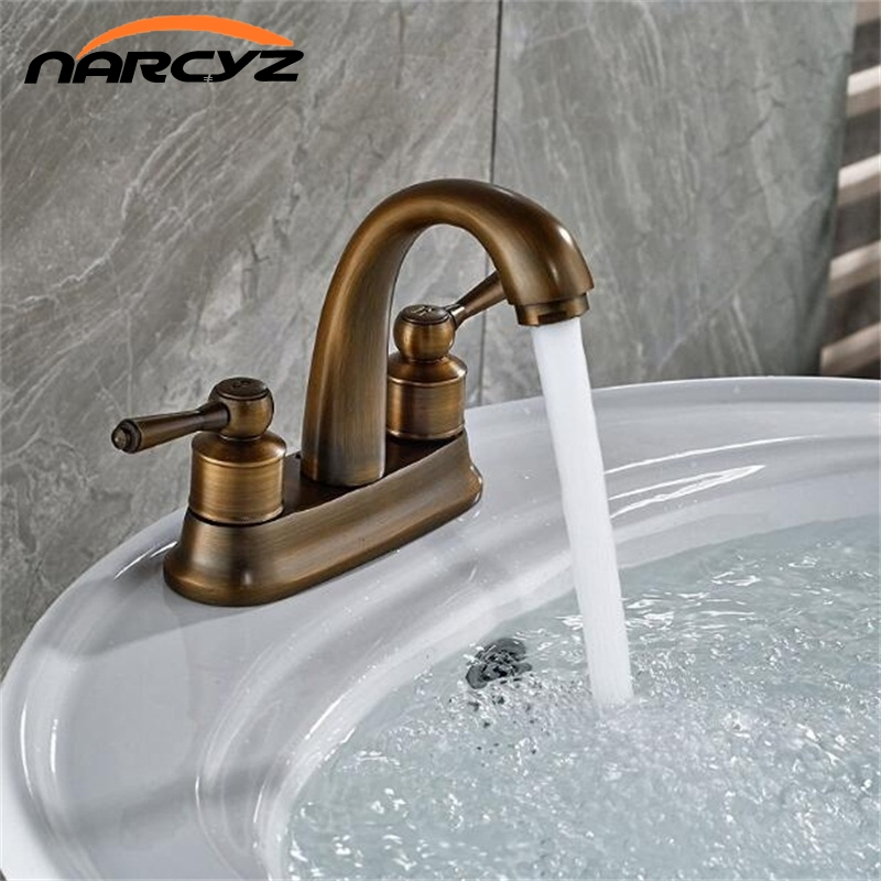 Antique faucet double handle two hole basin mixer crystal tap bathroom cold and hot mixer tap basin sink tap XT952 pastoralism and agriculture pennar basin india