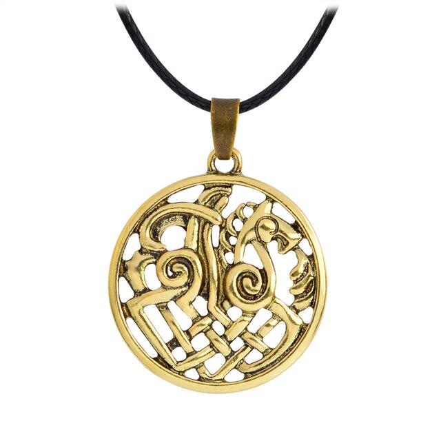 Hollow Nordic Odin Sleipnir Kolovrat Pendant Necklaces Viking chain Vintage Antique silver bronze Men Jewelry Gift for Friend