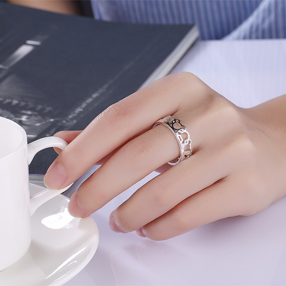 Fashion 925 stamped silver plated Cute Mouse Head Finger Rings Women ...