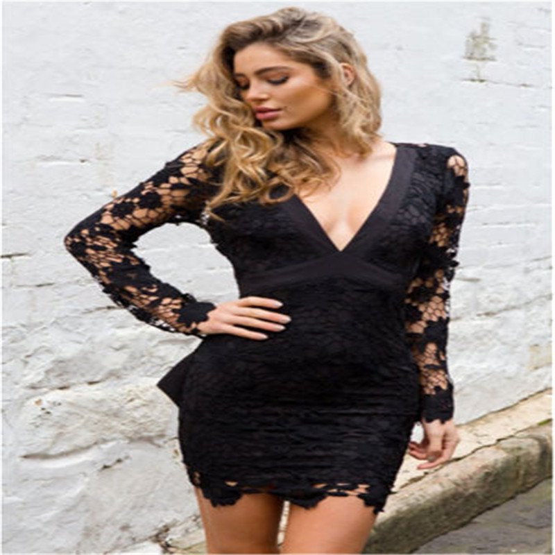 Fashion Women Clothes Sexy Deep V-neck Long Sleeve Lace Bowknot Stretch Casual Party Mini Dresses One Pieces