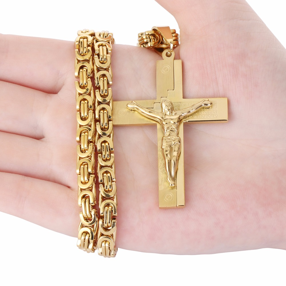 Crucifix Jesus Pendant Necklace Gold Color Stainless Steel Christs ...
