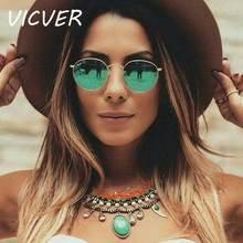 Round Sunglasses Women Brand Designer Vintage Metal Cheap Su