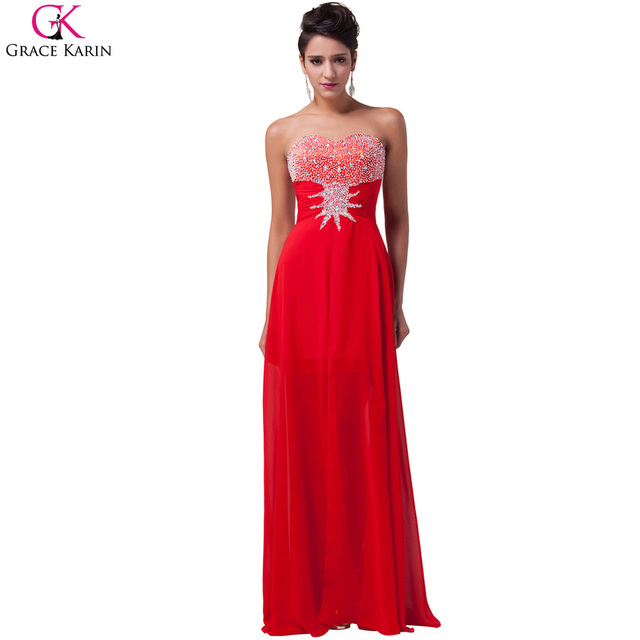 Robe de soiree mousseline rouge