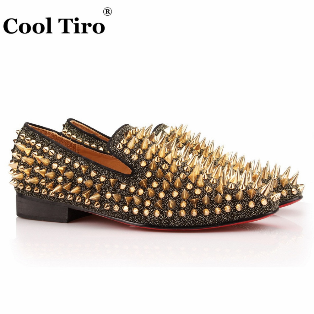 COOL TIRO New Handmade Mens Loafers Gentleman Luxury Fashion Spikes Wedding Party Dress Slip on Flats Gold Rivet Stress Shoes hot sales new fashion dandelion spikes mens loafers high quality suede black slip on sliver rivet flats shoes mens casual shoes