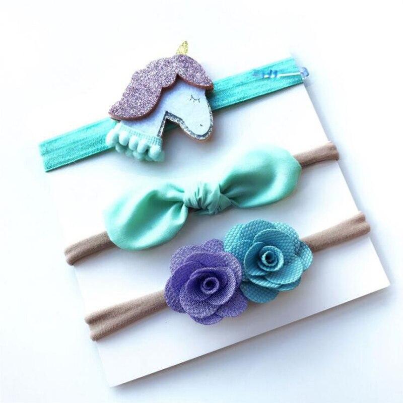 3 Pcs/Set Baby   Headwear   Horn Party Flower Bowknot Nylon Hair Bands Handmade DIY Headband for Newborn Children Kids