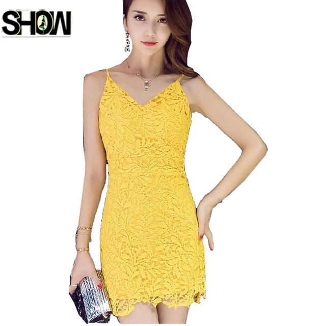 a687c752c3997 Sexy Hot Dresses New Hot Selling Korean Style Women Club Party Wear Slim  Pencil Bandage Bodycon Black Yellow Lace Work Dress 600