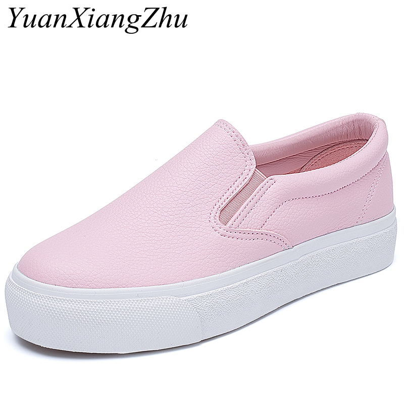 Spring Summer Women Pu Leather Loafers Fashion Ballet Flats Pink White Black Shoes Woman Slip On Loafers Boat Shoes Moccasins lemai 2018 spring women flats shoes women genuine leather shoes woman cutout loafers slip on ballet flats boat shoes 3591
