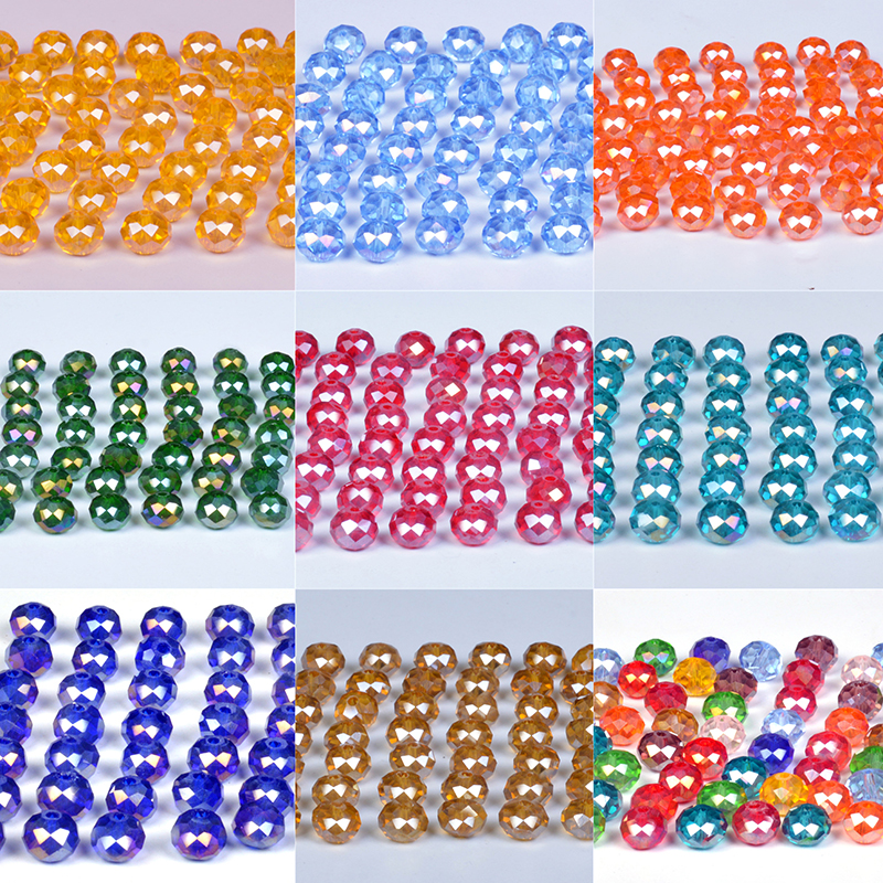 Crystal-Beads Spacer Rondelle Jewelry Making Faceted Czech Ab-Color Loose Wholesale 4-6