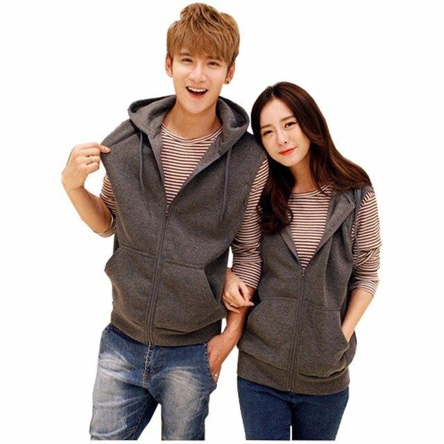 Couples Hooded Pockets Vest Cardigan 2017 New Spring Autumn Fashion Vest Coat Men Women Plus Size Zippers Sleeveless Jackets