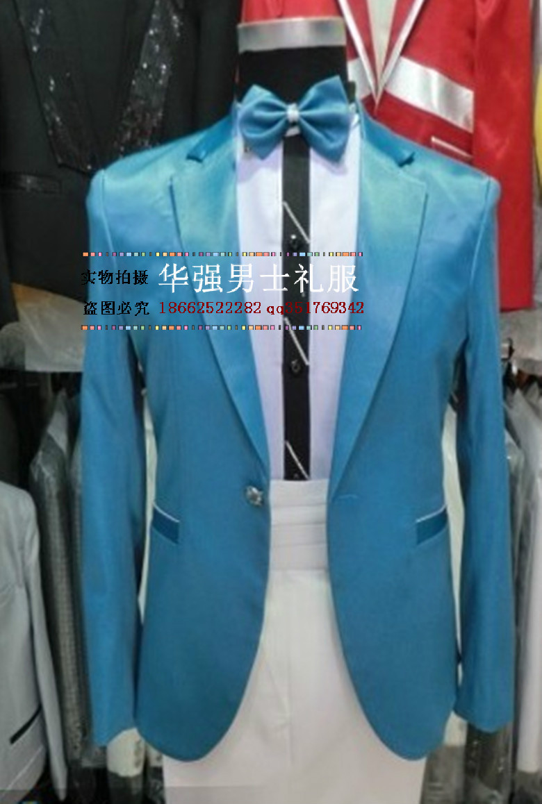 Online Shop 2017 New men\'s clothing slim stage Sky Blue suits ...