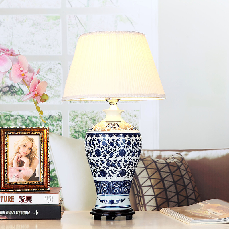 Buy blue and white art chinese porcelain - Porcelain table lamps for living room ...
