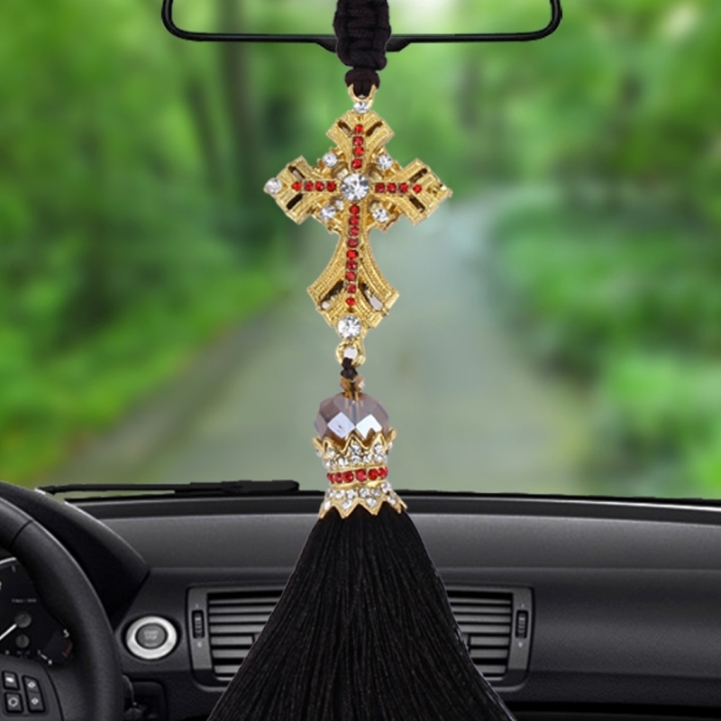 Lovely Ornaments Metal Flower Crystal Style Hanging Decoration For Car And Household