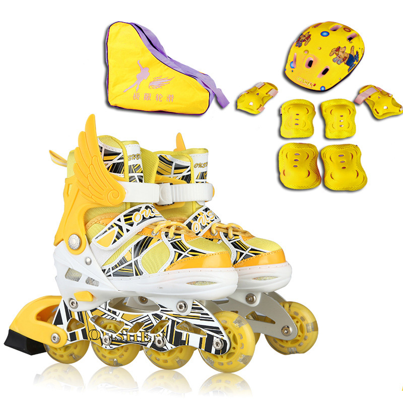 Adult Children Slalom Inline Skate Roller Skating Shoes Helmet Protector Gear Set Adjust Washable Breathable PU Flash wheels new kids children professional inline skates skating shoes adjustable washable flash wheels sets helmet protector knee pads gear