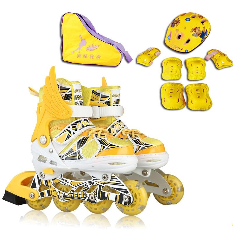 Prix pour Enfants adultes Slalom Patins À Roues Alignées À Rouleaux Chaussures De Patinage Casque Protecteur Train D'engrenages Ajuster Lavable Respirant PU Flash roues