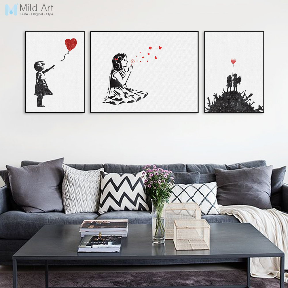 Modern Abstrcat Black White Banksy <font><b>Hipster</b></font> Pop A4 Art Print Poster Wall Picture Living Room Canvas Painting No Frame <font><b>Home</b></font> <font><b>Decor</b></font>