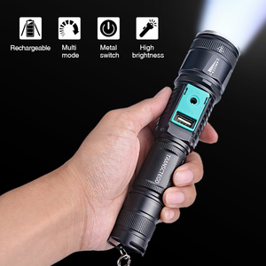Image 2 - military police use flashlight waterproof T6 long range rechargeable LED light riding hunting torch tactical flashlight 18650