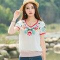 Vintage New Summer Linen Lantern Design Elastic Waist Large Size T Shirt 2016 Fashion Women V Neck Short Sleeve Tees