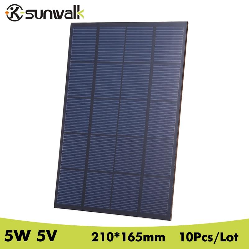 SUNWALK 10PCS 5W 5V Monocrystalline Solar Panel Cell 1000mAh Solar Battery Panel for DIY Portable Solar Charger 210*165*3mm