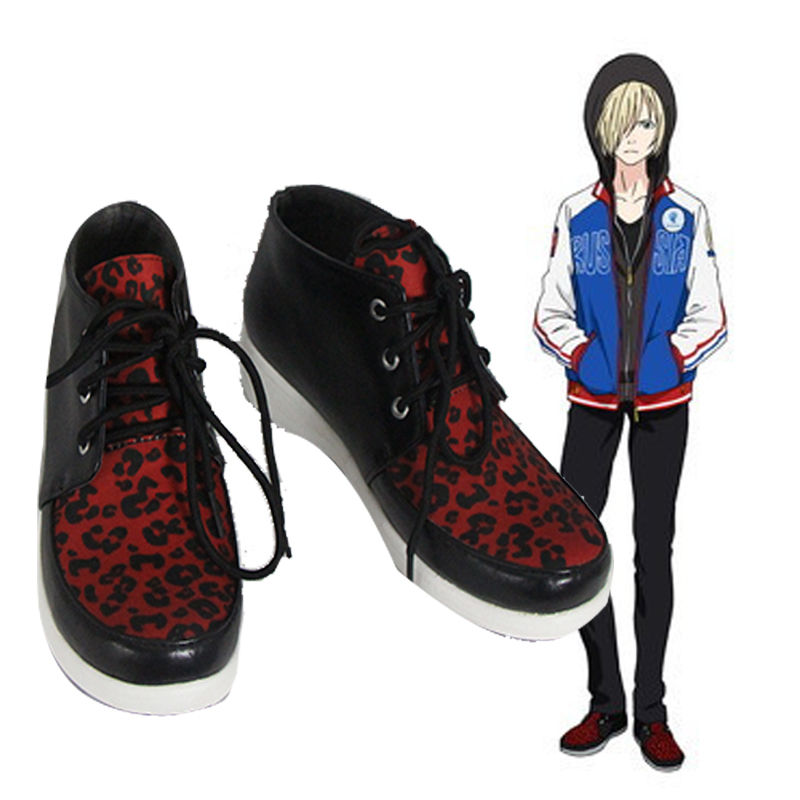 New Yuri!!! on Ice Plisetsky Yuri Cosplay Shoes Leopard Print Lace up Sneakers Daily cos Gifts Free shipping