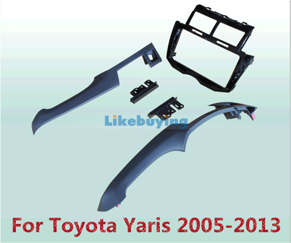 Black 2 Din Car Frame Dash Kit / Car Fascias / Mount Bracket Panel For Toyota Yaris 2005 2006 2007 2008 2009 2010 2011 2012 2013 free shipping car refitting dvd frame dash cd panel for buick excelle 2008 china facia install plate ca4034