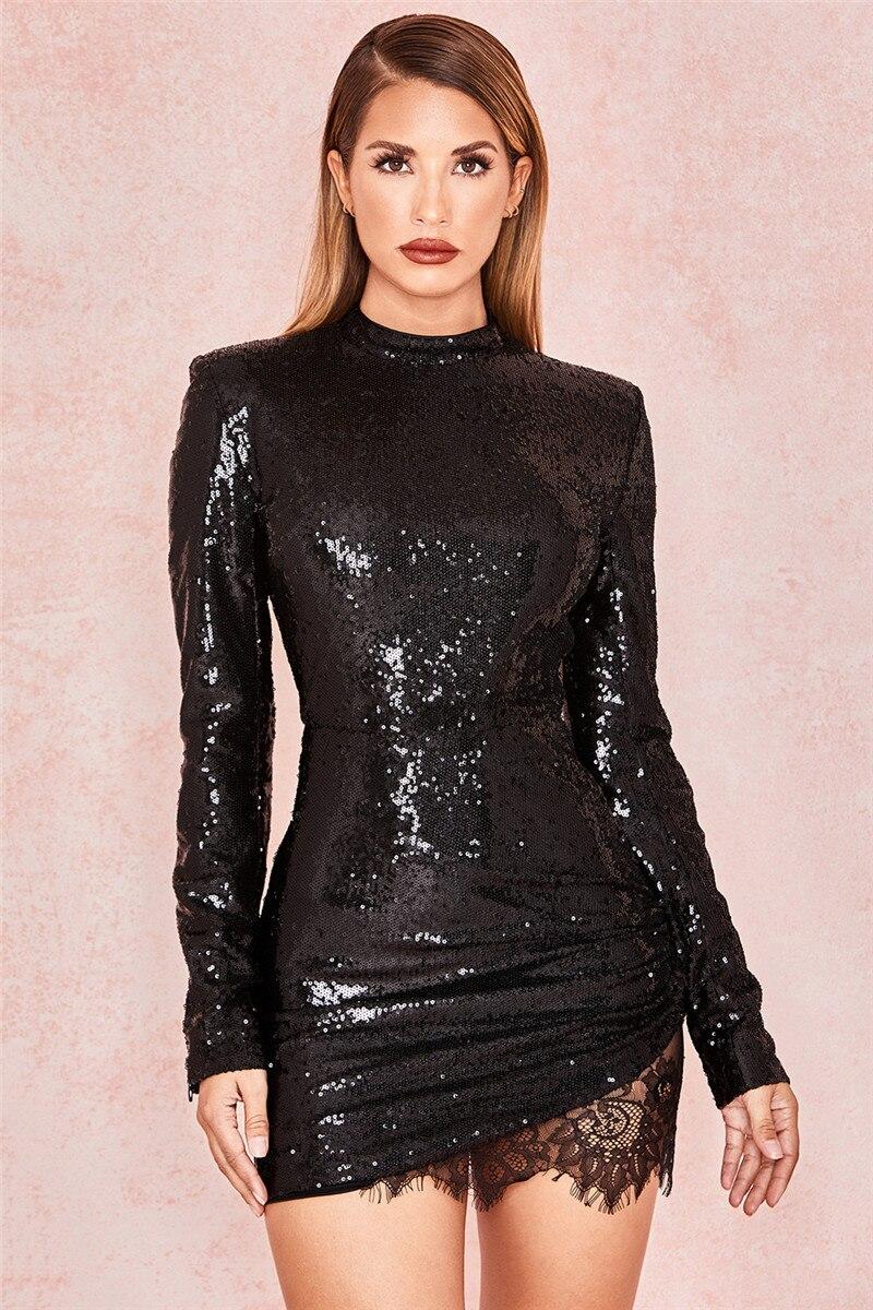 c64acb2fba2118 Kort zwart glitter jurkje - On Fleek Webshop