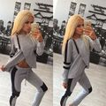 2016 Sexy hit color stitching irregular sportsuit long sleeve tracksuit for women BTS Grey Black 2pieces set Zipper IVY park