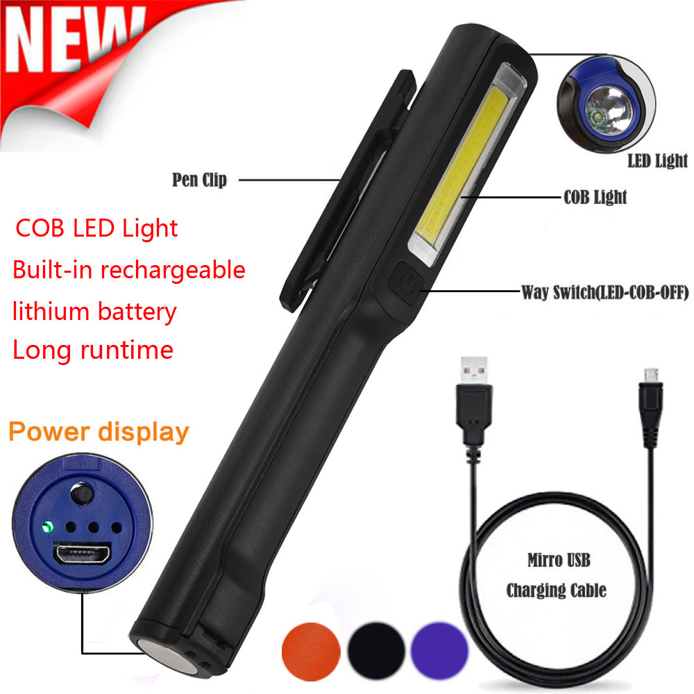 2in1 COB LED Flashlight USB Rechargeable LED COB Camping Portable Mini Pen Light Working Inspection light Lamp Hand Torch 2018 ...