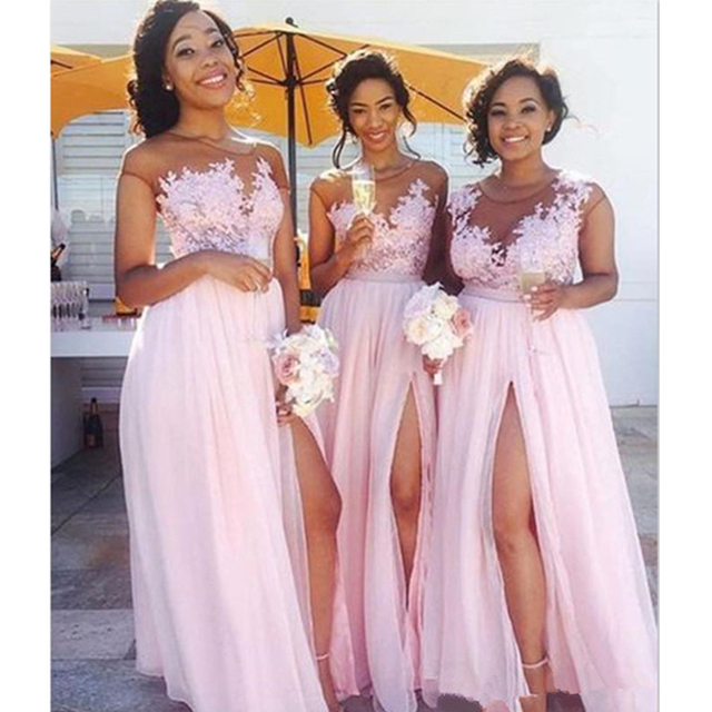 45613902d9233 TPSAADE Chiffon Bridesmaid Dresses With Split Appliques Sheer Neck 2019  Sexy Long Maid of Honor Wedding Party Guest Dress Cheap
