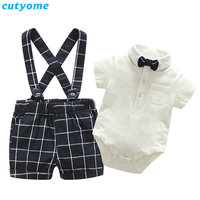 Cutyome Baby Boys Clothes Pretty Rompers 3pcs/Sets White Short Sleeve Romper+Formal Tie+Plaid Overalls Shorts Infant Tracksuit