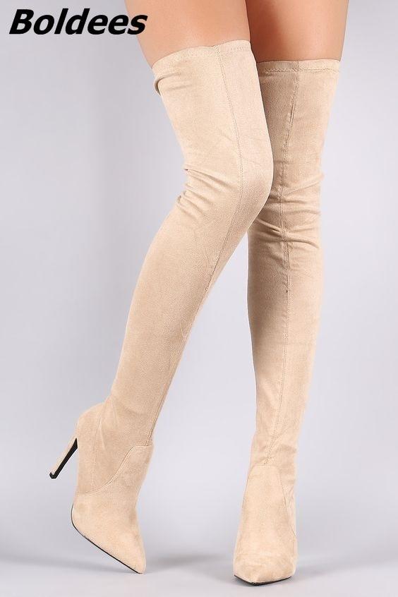 Women Pointed Toe Stiletto Heel Thigh High Boots Elegant Beige Suede Side Half Zip Long Boots Celebrities Design Shoes