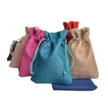Купить с кэшбэком 10x14cm Multi Colors Mini Pouch Jute Bag Linen Hemp Small Drawstring Bags Ring Necklace Jewelry Pouches Wedding Gift Packaging