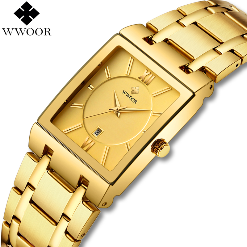 WWOOR Luxury Mens Watches Gold Square Quartz Watch Men Top Brand Date Clock Waterproof Golden Bracelet Business Male Wrist Watch