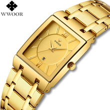 WWOOR Luxury Mens Watches Gold Square Quartz Watch Men Top Brand Date Clock Waterproof Golden Bracelet Business Male Wrist Watch chenxi gold watch men luxury business man watch golden waterproof unique fashion casual quartz male dress clock gift 069ipg