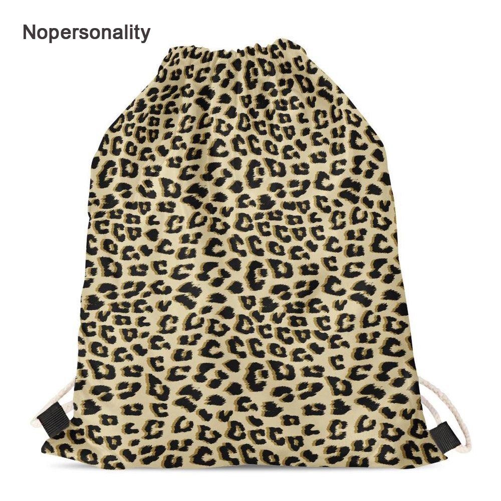 Nopersonality Leopard Print Beach Drawstring Bags For Women Girls Small Travel Storage Bag Kids School Backpacks Mochila Brown