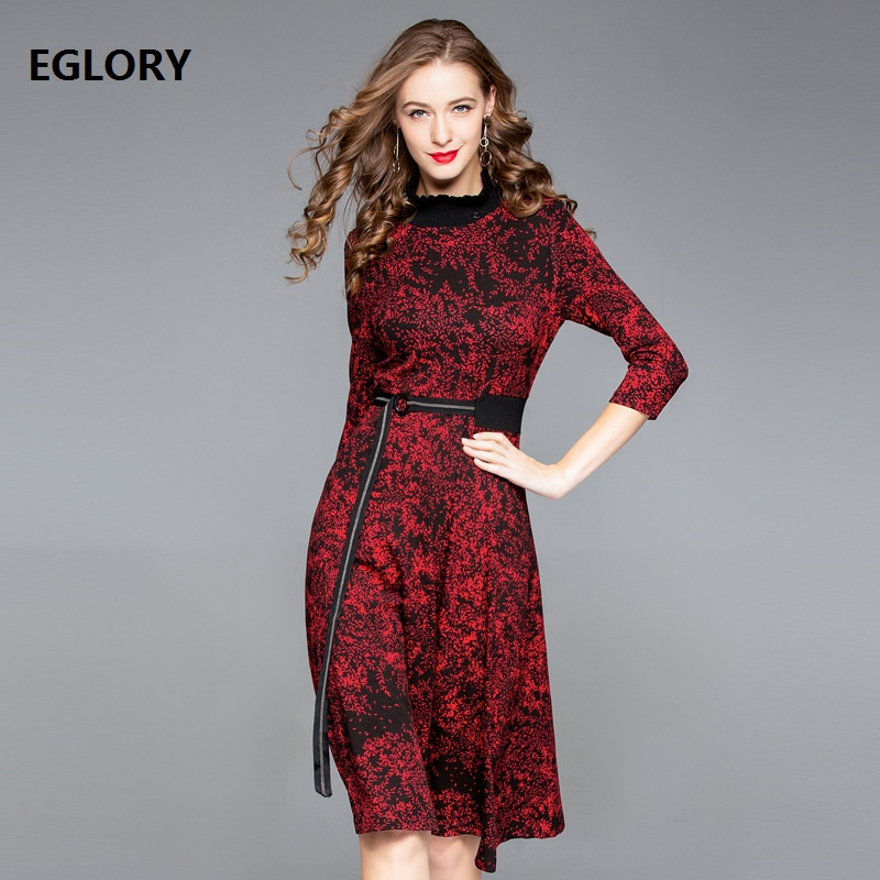 European Designer Runway Dress 2018 Fall Winter Woman Ruffled Collar Chic Print 3/4 Sleeve Mid Calf Length Cotton Dress Belt