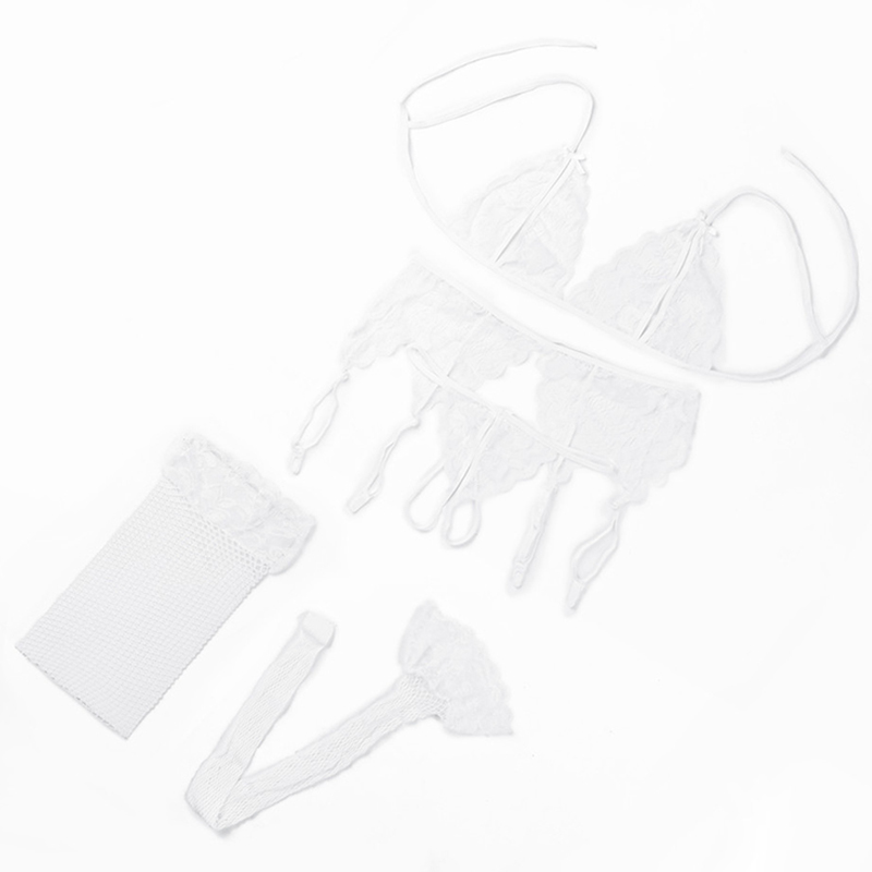 Сексуальное женское белье, комплект из 4 предметов, косплей, кружевной открытый бюстгальтер, Babydoll, стринги, подвязки, порно Нижнее белье, сек... 20