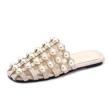 New women's slippers bright beads fashion casual sandals flat with women's shoes explosions pearl fashion sandals недорого